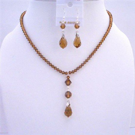 NSC587 Genuine Swarovski Smoked Topaz Crystals w/ Sterling Silver Earrings Necklace Set