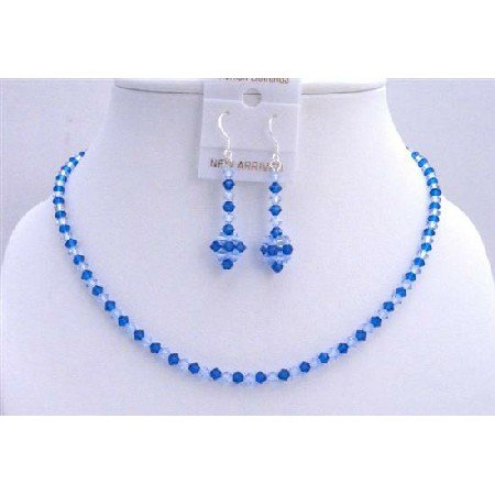 NSC591Capri Color Swarovski Crystals w/ Sapphire Necklace Set Genuine Jewelry Set
