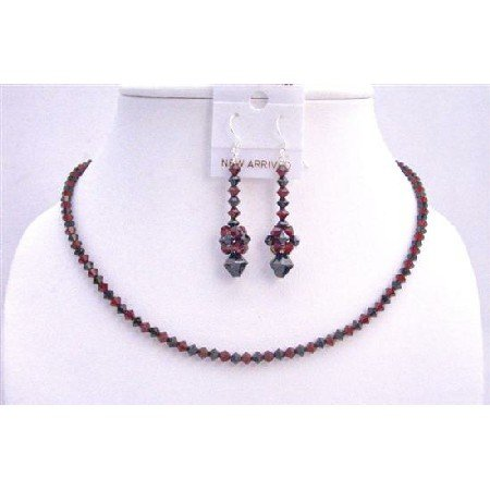 NSC588 Swarovski Siam Red And Jet Black Swarovski Crystals Necklace Set