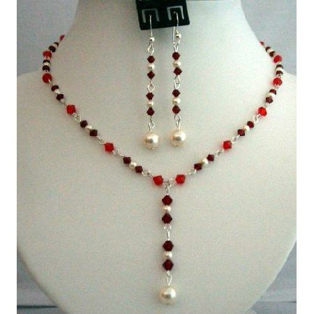 NSC260  Handcrafted Genuine Crystals Jewelry Siam Red w/ Cream Pearls Necklace Set Y