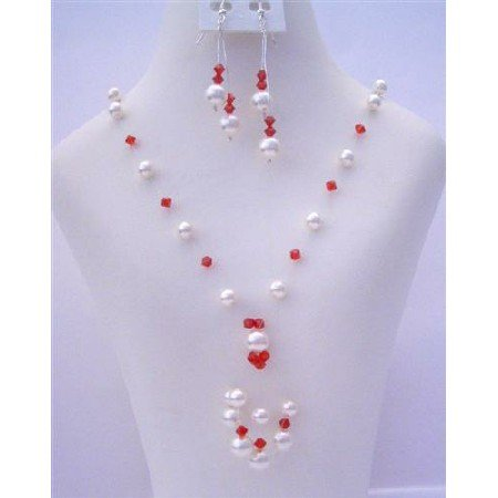 NSC485  White Pearls With Swarovski Siam Red Crystals & Pearls Tassel Drop Necklace Set