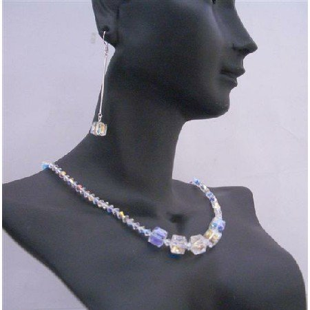 NSC541  Cube Crystals Jewelry Set Genuine AB Swarovski Cube Beautiful Necklace Set