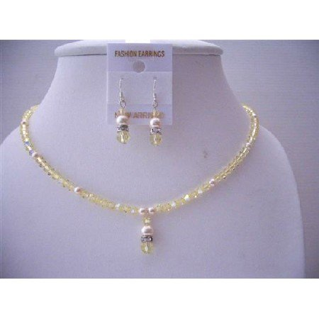 NSC544Ivory Pearls Jonquil Crystals Jewelry Set Handcrafted Genuine Swarovski Crystals Necklace Set