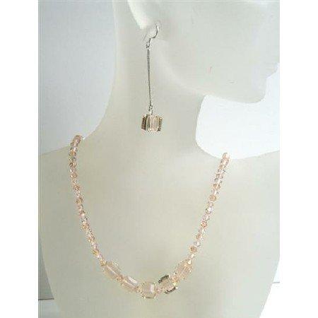 NSC415  Swarovski Peach Crystals Jewelry w/ Cute Dangling Earrings