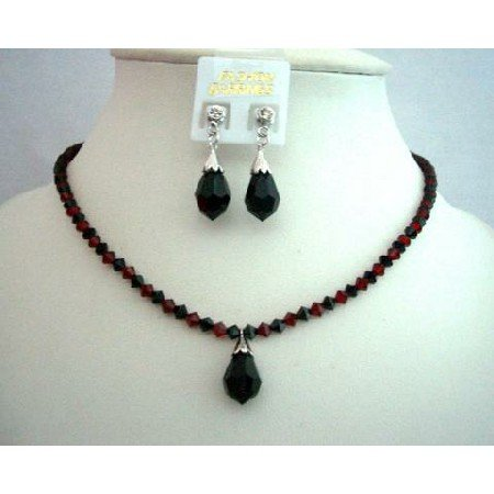 NSC345  Fashion Jewelry Handcrafted Custom Genuine Crystals Jet & Siam Red Crystals Necklace
