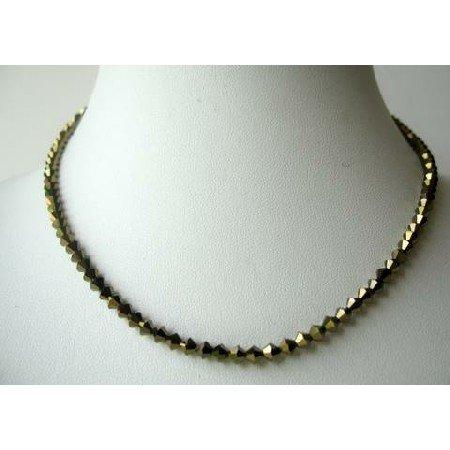 NSC338  Sparkling Swarovski Dorado Crystals String Necklace Expresso Color NEW!!