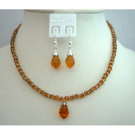 NSC350  Fine Jewelry Bridal Bridemaides Jewelry Genuine Swarovski Topaz Crystals Necklace Set