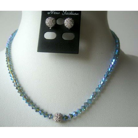 NSC331 Sparkling Genuine Crystals Indian Sapphire AB w/ Cute Round Cz Pendants Necklace Set