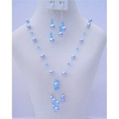 NSC484  Aquamarine Crystals and Pearls Genuine Swarovski Crystals & Pearls Tassel Drop Necklace Set