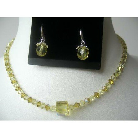 NSC320  Genuine Swarovski Lime & Jonquil Crystals Necklace Set w/ Teardrop Earring