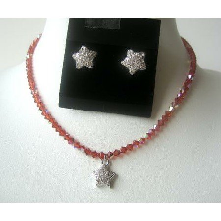 NSC329  Genuine Fine Swarovski Crystals Indian Red AB w/ Cute Star Pendants Necklace Set