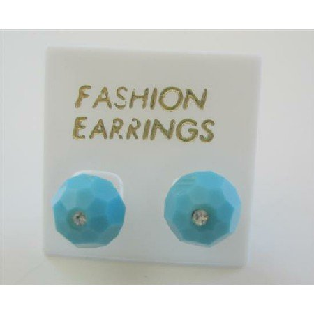 ERC396  Turquoise Swarovski Crystals Stud Earring