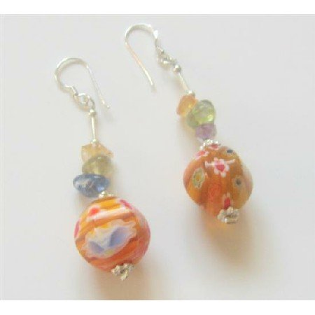 ERC342  MultiColored Stone Chips w/ Venetian Glass Bead Earrings Sterling Silver Earrings