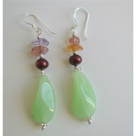 ERC410  Murano Glass Earrings w/ Multi Nugget & Daisy Spacer Sterling Silver Earrings