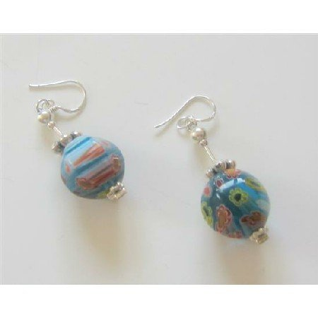 ERC335  Versatile Venetian Glass Bead w/ Bali Silver Earrings Sterling Silver Earrings