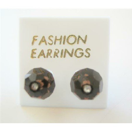 ERC395  Smoked Topaz Crystals Stud Earring