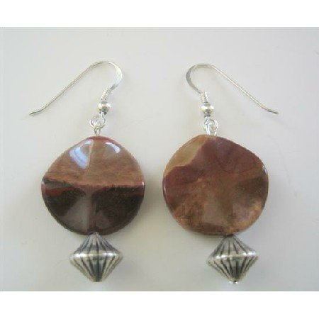 ERC400  Jasper Stone Bead Earrings Sterling Silver Earrings
