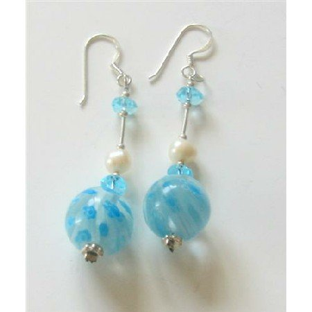 ERC340  Freshwater Pearls Venetian Glass Bead Earrings w/ Spacer Sterling Earrings
