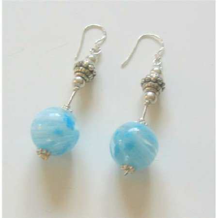 ERC339Sterling Silver earrings w/Venetian Glass Bead Earrings&Bali Spacer Sterling Silver Earrings