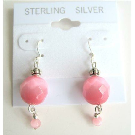 ERC330  Multifacated Rose Pink Cat Eye 12mm Sterling Silver 925 Earrings