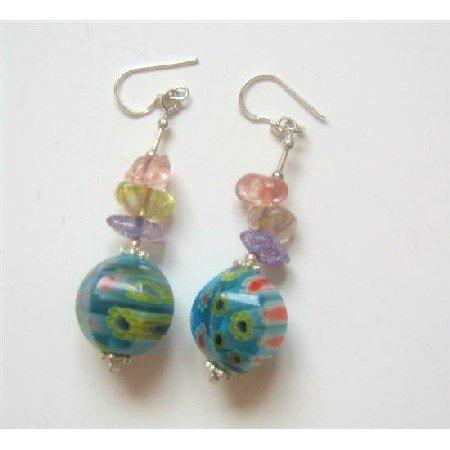 ERC341  Sterling 925 Silver Glass Beaded Earrings Venetian & Multi Colored Chips Earrings