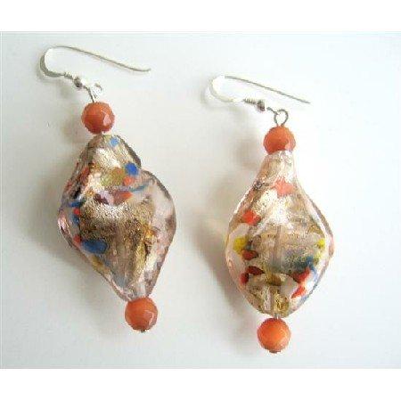 ERC327  Twisted Filled Glass Beads w/ Cat Eye Bead Sterling Silver Earrings