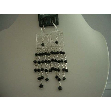 ERC116  Genuine Jet Swarovski Crystals w/ Sterling Silver Dangling