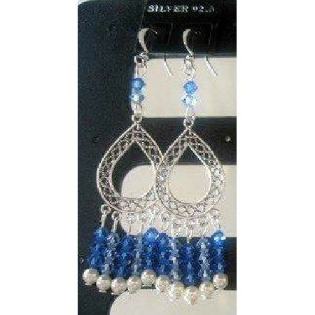 ERC063  Sterling 92.5 Stamped w/ 100% Genuine Swarovski Sapphire Crystals & Pearls