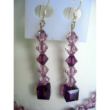 ERC125  Genuine Amethyst Crystals Sterling Silver Earrings