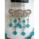 ERC124  Fine Genuine Sterling 92.5 Silver Chandelier w/ Genuine Blue Zircon Crystals Dangling
