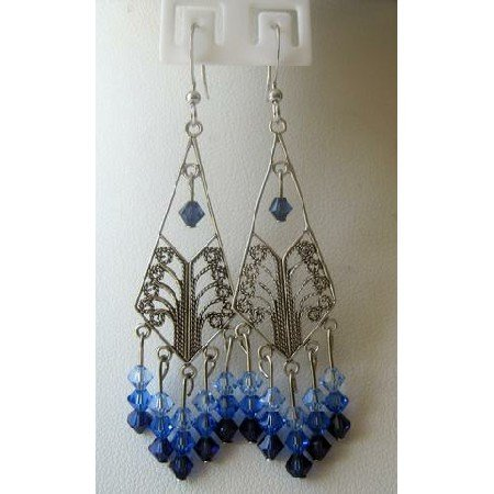 ERC141 Sterling Silver Chandelier Genuine Swarovski 3 Different Sapphire Crystals Dangling Earrings