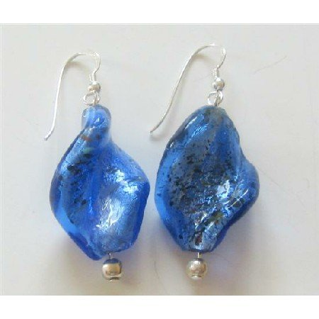 ERC337  Sterling Silver Blue Filled Twisted Glass Beads w/ Cat Eye Bead Sterling Silver Earrings