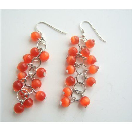 ERC343  Dark Citrine Orange Beaded Earrings Sterling Silver Earrings Handmade Earrings
