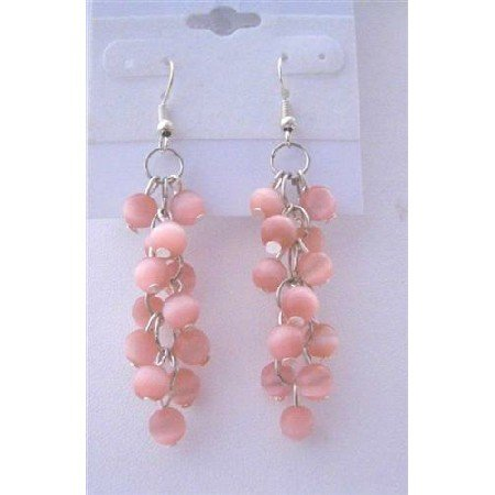ERC323  Pink Sterling Silver Cat Eye 6mm Beadspacer Earrings