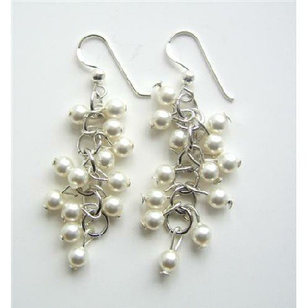 ERC347  Swarovski White Pearls Earrings Sterling Silver Genuine Material Jewelry