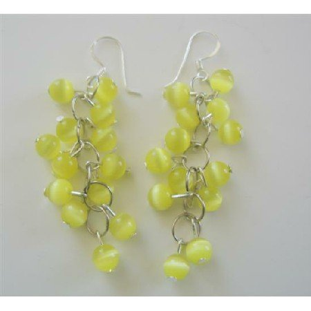 ERC363  Sterling Silver Earring Yellow Lime Cat Eye Beaded Earrings Handmade Custom Jewelry