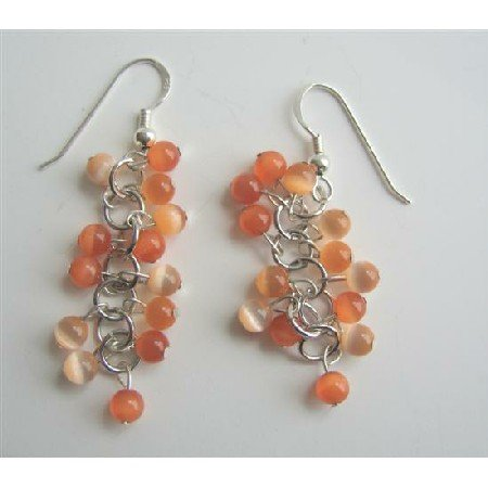 ERC324Citrine Cat Eye Sterling Silver Earrings Citrine&Lite Orange Cat Eye Beadspacer Earrings