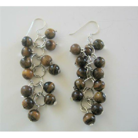 ERC361  Tiger Eye Beaded Grape Earrings Sterling Silver Handcrafted Jewelry