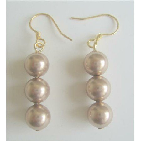 ERC367Champagne Pearls Earrings 22k Gold Plated Earrings Genuine Swarovski Pearls Earrings