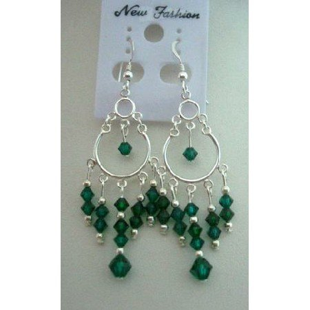 ERC042  Cascade Drop Genuine Crystals Chandelier Earrings w/ Emerald Crystals