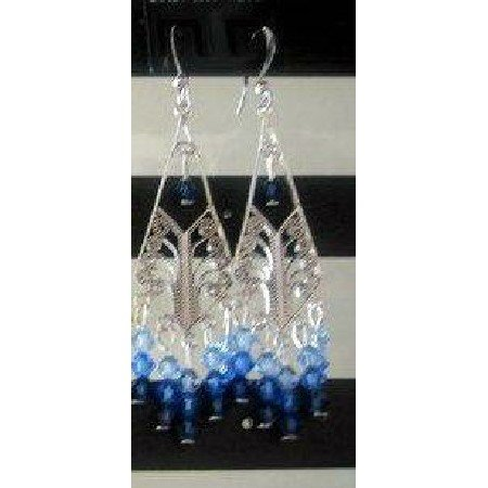ERC060_3  Color Of Sapphire In Genuine Swarovski Crystals & Sterling 92.5 Silver Chandelier Earrings