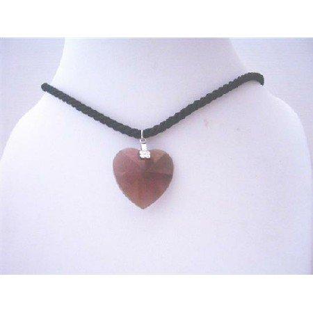NSC495 Black Chord w/Dark Amethyst Crystals Heart Pendant 28mm Genuine Pendant Neckalce
