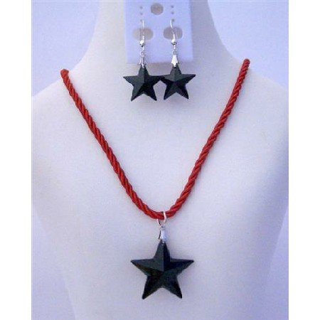 NSC461  Star Pendant Swarovski Jet Crystals Necklace Set of Swarovski Jet Star 24mm Crystals