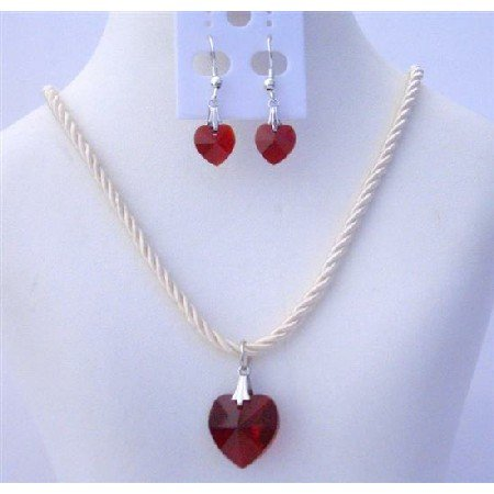 NSC459  Crystals Heart Necklace Set of Swarovski Siam Red Heart 18mm Crystals