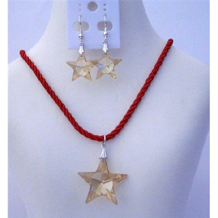 NSC464  Genuine Swarovski Golden Shadow Crystals Star Pendant Necklace Set