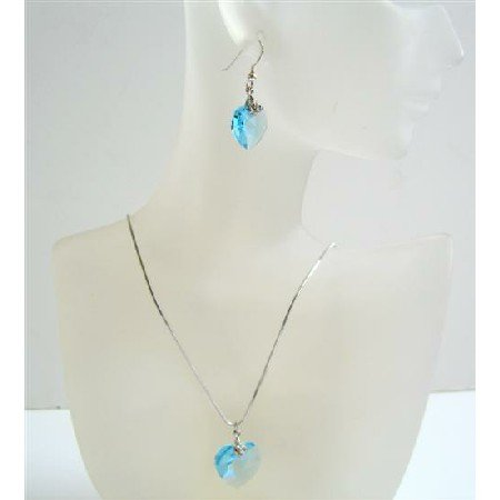 NSC524  Aquamarine Swarovski Sexy Heart Pendant & Earrings Necklace Set
