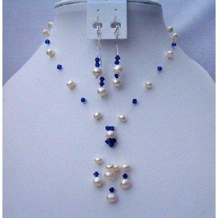 NSC390  Freshwater Pearls Tassel Jewelry w/ Swarovski Sapphire Crystals Neckalce Set