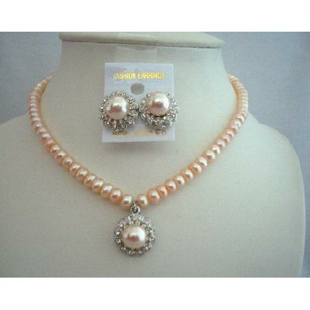 NSC339 Freshwater Pearls Peach Necklace Set w/ Stud Pearls Pendant & Earrings
