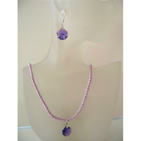 NSC478  Swarovski Tanzanite Crystals Octagen Pendant & Earrings Beaded Chord Necklace Set