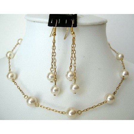 NSC227  22k Gold Plated Genuine Swarovski Cream Pearls Handcrafted Necklace Set